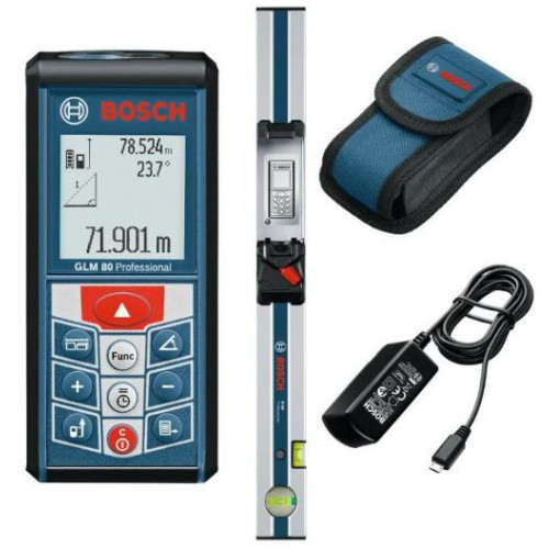 Lazerinis atstumų matuoklis BOSCH GLM 80 Professional + matavimo bėgelis R 60 Professional