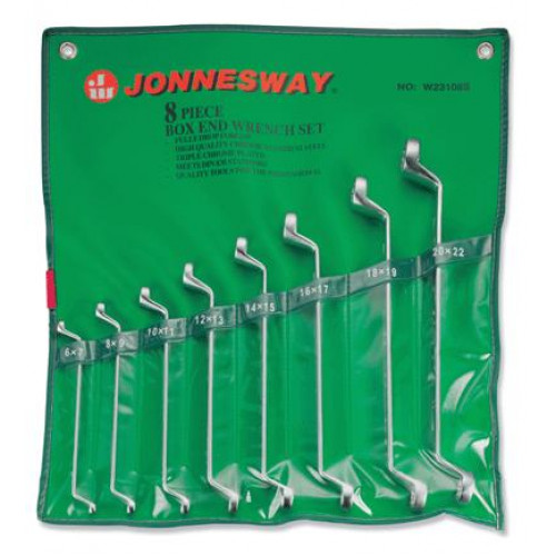 Kilpinių lenktų raktų komplektas Jonnesway, 8 vnt. (6-22 mm)