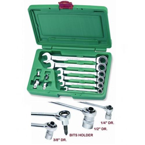 Plokščių-kilpinių raktų komplektas su terkšle ir adapteriais  (10 dalių) Jonnesway